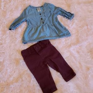 3m Carters outfit, Jean shirt with Burgundy jeans